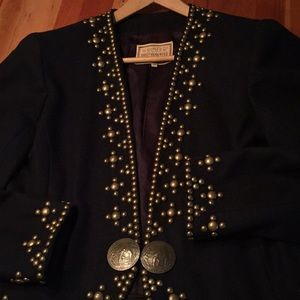 Double D Ranch navy wool jacket with brass studs